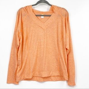 Lucy tech orange hooded athletic top